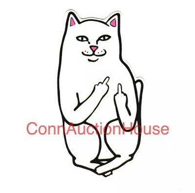 Middle Finger White Cat Lord Nermal RIPNDIP STICKER Skateboard