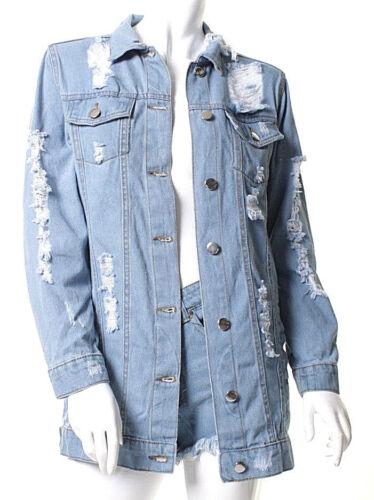 Veste femme en jeans courte Taille Manteau Délavé Délavé Femme Top 6-14