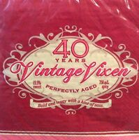 40th Birthday Vintage Vixen Paper Napkin Bold Sassy Perfectly Aged Sweet Spicy