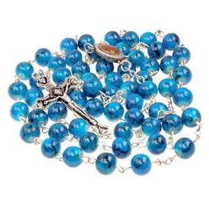 Catholic-Faux-Blue-Stone-Rosary-Beads-Crucifix-amp-Holy-Soil-Jereusalem-22-5-034