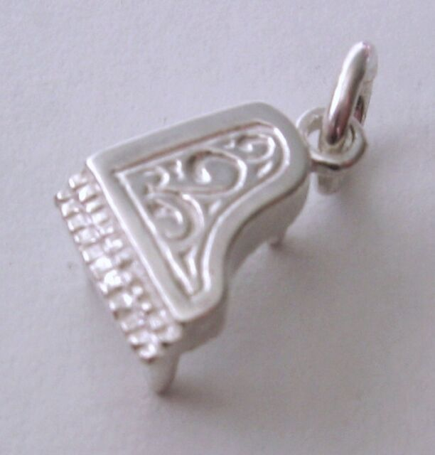 GENUINE SOLID 925 STERLING SILVER 3D MUSICAL INSTRUMENT PIANO Charm/Pendant