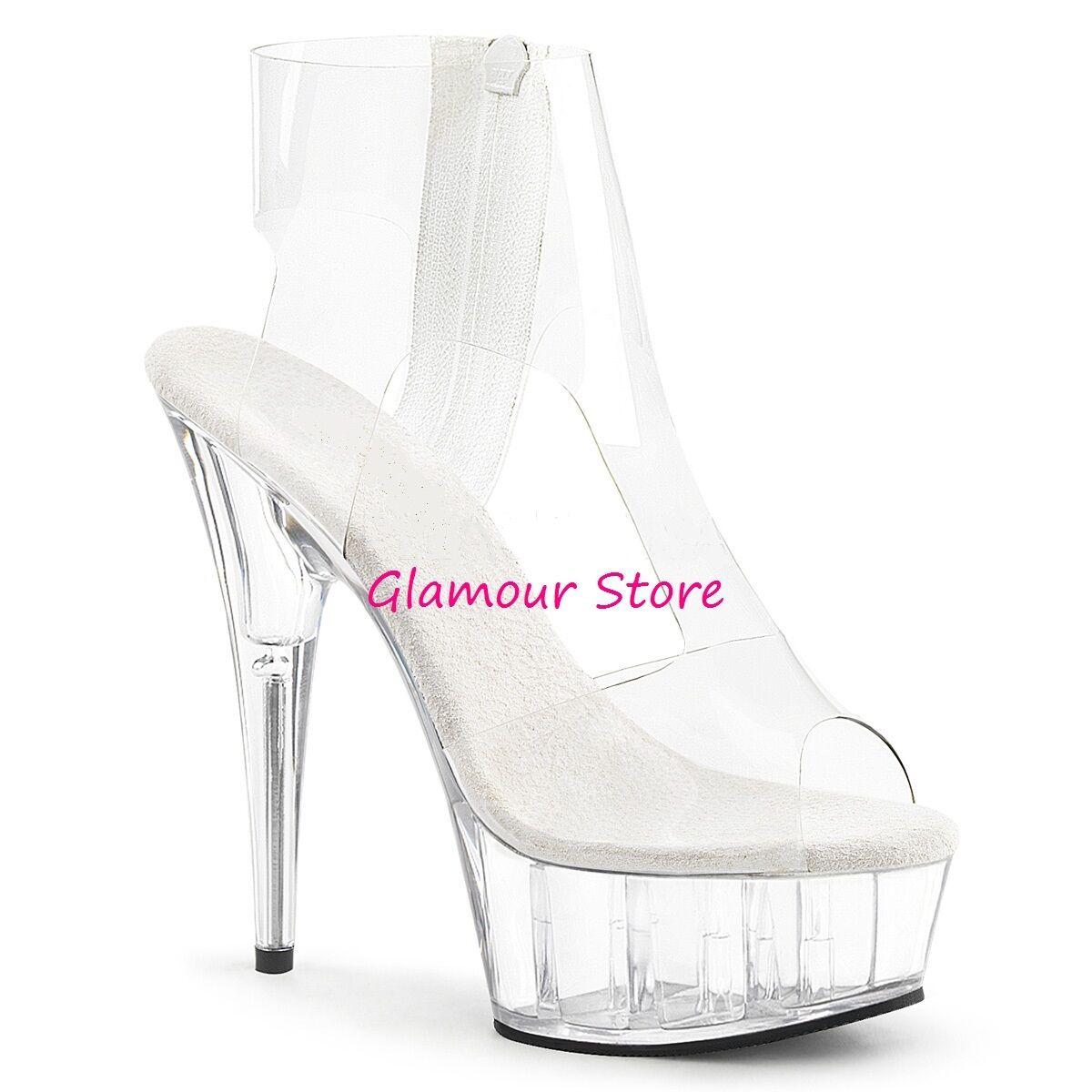 SANDALI tacco 15 zip dal 35 al 44 TRASPARENTE plateau zip 15 scarpe SEXY Glamour 5c822a