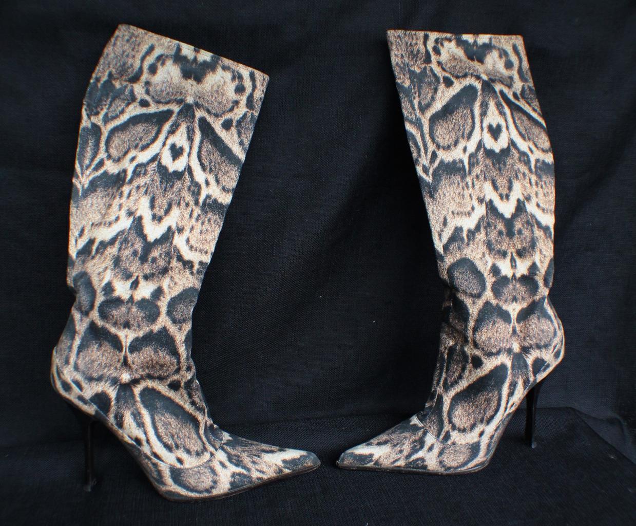 985 Auth Roberto Cavalli Signature Animal Print Knee High Women's boots sz.37