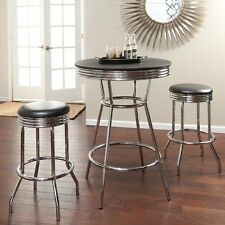 Retro Style Pub Table and Stools 3 Pc Bistro 1950s Chrome Vintage Game Room Bar