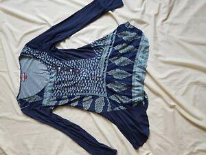 Femmes-Entierement-neuf-sans-etiquette-Joe-Browns-Bleu-Imprime-Haut-Tunique-Taille-10