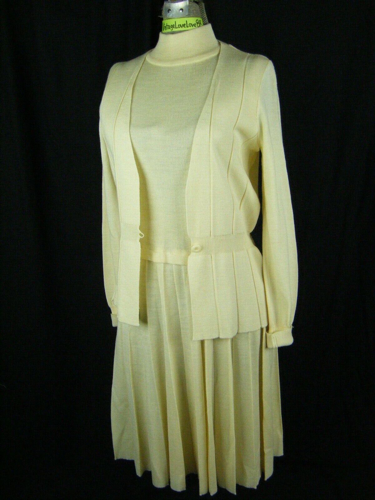 RONCELLI Vtg 70s Ivory Acrylic/Wool Sweater Dress… - image 1