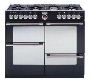 stoves range cooker sterling 1100dft black gaskochfeld elektro back fen 110cm ebay. Black Bedroom Furniture Sets. Home Design Ideas