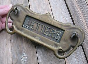 Antique Art Nouveau Solid Brass Letter Box Plate  Door Mail Slot with Knocker - Cleveland, United Kingdom - Antique Art Nouveau Solid Brass Letter Box Plate  Door Mail Slot with Knocker - Cleveland, United Kingdom