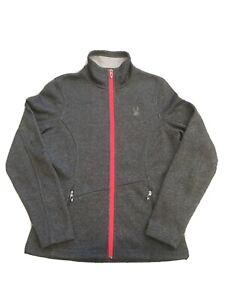 Spyder Core Sweater Full Zip Fleece Jacket Gray Pink Silver Women's Size M EUC