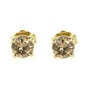 Details About 1 00ct Fancy Champagne Brown Diamond Stud Earrings 14k Yellow Gold