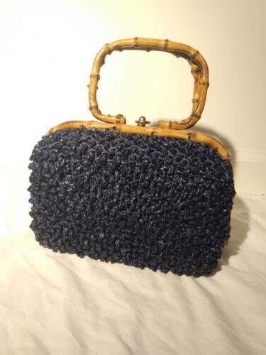 Vintage Macy's Marchioness Navy Blue  Bag Purse Ha