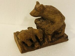 Hand-Carved-Solid-Wood-Bear-Mom-amp-Cubs-Figurine-Carving-6-5-Black-Forest-Style