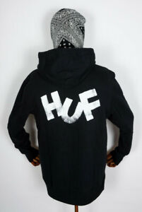 Huf Worldwide Hooded Pullover Hoodie Eric Haze Brush Black in M
