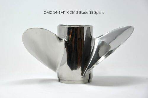 """Yamaha V//6 15 Spline New Michigan 14-1//4/"""" X 26/"""" 3 Blade Stainless Prop for OMC"""