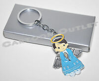 12 X Baptism Keychains Bautizo Recuerdos Boys Blue Angel Keepsake Christening