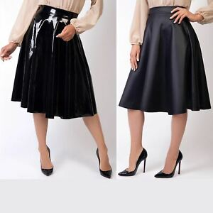 Womens-Ladies-PVC-Leather-Skirt-Pleated-Midi-Flared-A-Line-Full-Swing-High-Waist