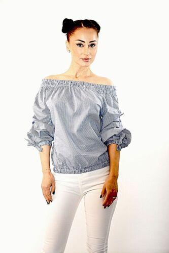 New Women Blue+White Fine Stripes Bardot Puff Sleeves 100/% Cotton Top Size 8-12
