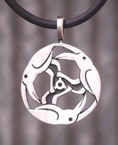 Celtic Norse Triple Crow Raven Trinity Triskele Triskelion Wheel Pewter Pendant