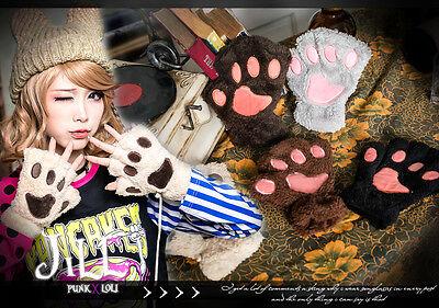 lolita cartoon fantasy cosplay munchkin cat paw fingerless winter gloves JN6193