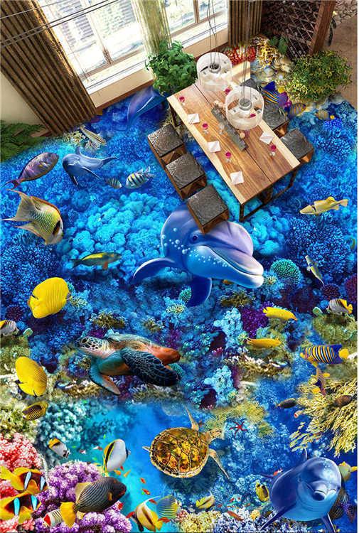 Schöne Unterwasserfische 3D Fußboden Wandgemälde Foto Bodenbelag Tapete Zuhause