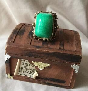 Vintage Huge Jade Green Peking Glass Cabochon Prong Set Adjustable GoldTone Ring