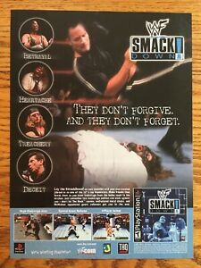 WWF-Smackdown-PS1-PSX-Playstation-2000-Vintage-Poster-Ad-Print-Art-THE-ROCK-WWE