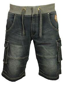 Mens Big Size Cargo Combat Elasticated Shorts in Dark Denim Designer 40-60
