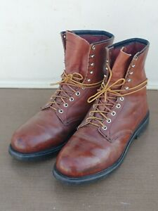 VINTAGE-RED-WING-4412-STEEL-TOE-LACE-UP-WORK-BOOTS-USA-10-5-D-BROWN-LEATHER