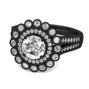 31e8a3dca9bfe Details about 2.50Ct Vintage Empire Collection Double Halo Engagement Ring  14k Black Gold