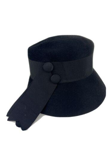 Vtg 100% Wool Felt 20s 30s Womens Hat Black Ribbon