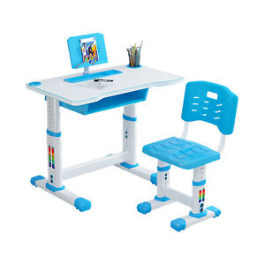 Height Adjustable Desk and Chair Set High School Student Childs Kids Study Table
