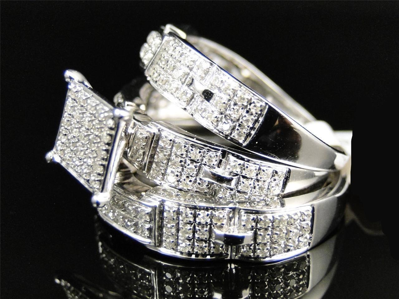 Mens & Ladies White gold Finish Diamond Engagement Bridal Wedding Ring Trio Set