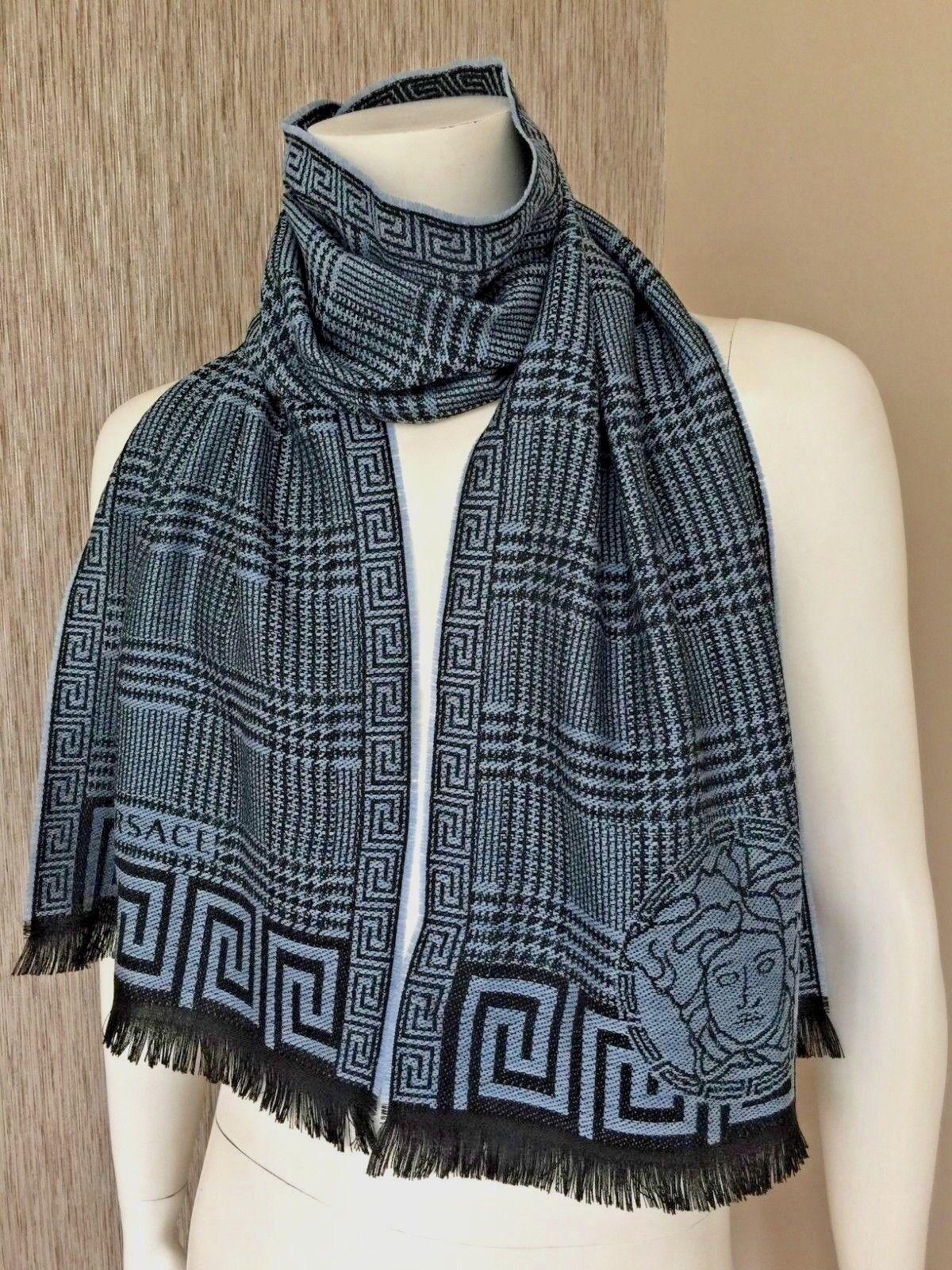 8c2b174252 Versace 100 Wool Medusa Head & Houndstooth Plaid Shawl Wrap Scarf Made in  Italy