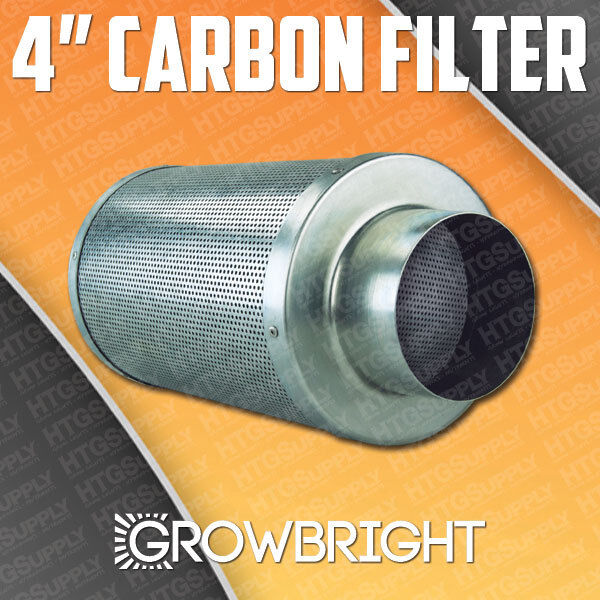 "4"" CARBON AIR FILTER SCRUBBER ODOR CONTROL INLINE Activated COAL Hydroponic can"