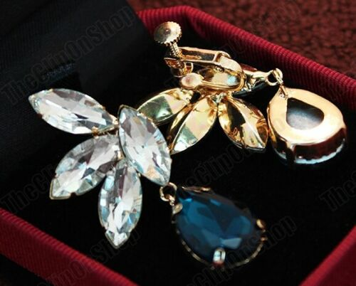 "2/""big CLIP ON EARRINGS vintage retro CRYSTAL DROP blue glass tear GOLD FASHION"
