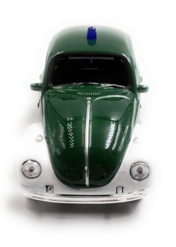 concesso in licenza VW Maggiolino polizia BEETLE modello di auto auto verde scala 1:34