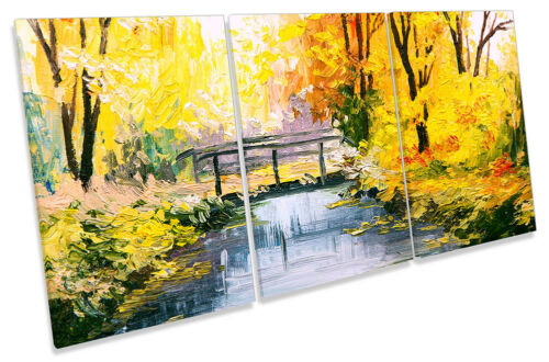 Yellow Autumn River Bridge CANVAS WALL ARTWORK TREBLE Print Art