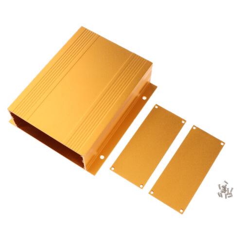 Gold Extruded Aluminum Enclosure Cooling Flat Box Case DIY 150x133x47mm