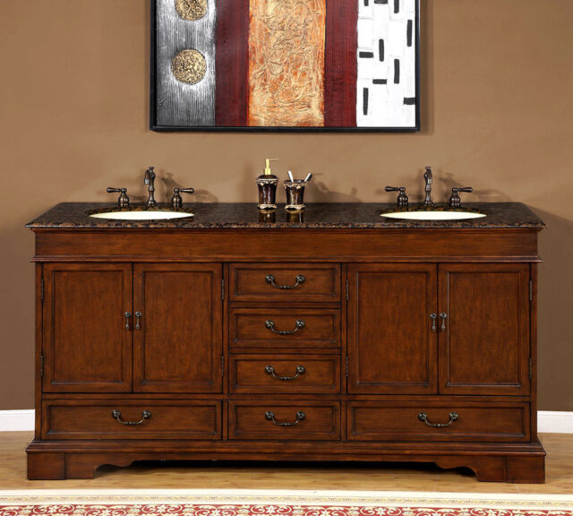 72 double sink bathroom vanity cabinet baltic brown granite stone top 715bb - Double Sink Bathroom Vanities