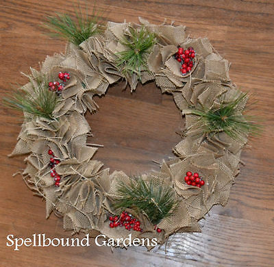 Handmade Rustic Burlap Wreath with Pine and Berries Christmas Holiday Wreath 14""