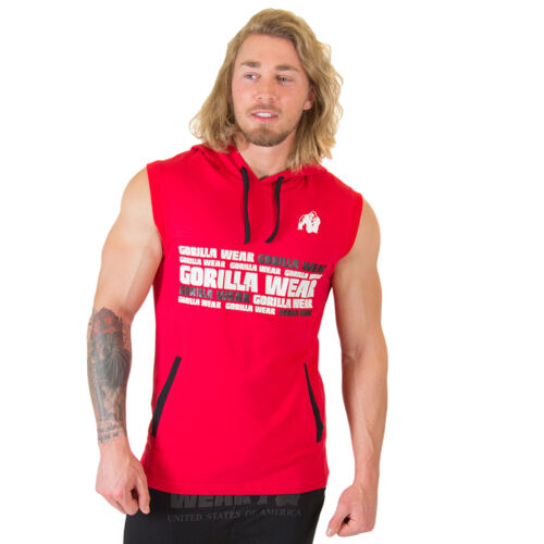Gorilla Wear Melbourne S//L Hooded T-Shirt Red Rot Bodybuiding Fitness