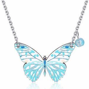wunderschoen-elegant-Aqua-Blau-Holz-Schmetterling-Design-Anhaenger-Damen-Halskette