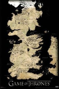 Game of Thrones Map TV Poster Print West Land Beautiful Art World 7 ...
