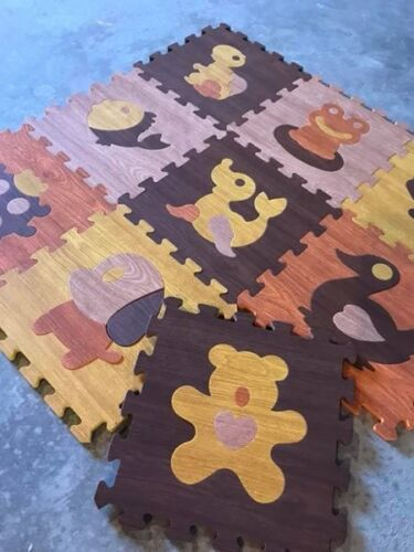 INVENTORY BLOW OUT! Wood Texture baby foam play mat with animal puzzle cut outs
