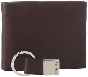 New-Calvin-Klein-Men-039-s-Leather-Key-Fob-Brown-Passcase-Billfold-Wallet-Set-79220