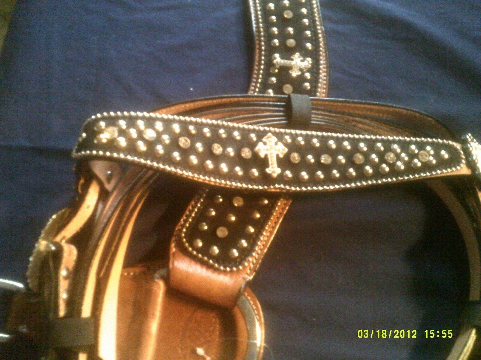 Headstall & Breast Collar Reins Show Style Hair on Hide Cross and Crystals