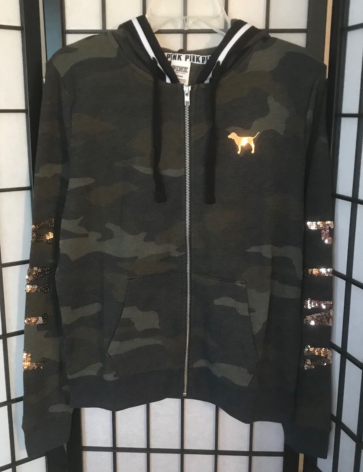 VICTORIA'S SECRET PINK CAMOUFLAGE CAMO pink gold BLING PERFECT FULL ZIP HOODIE