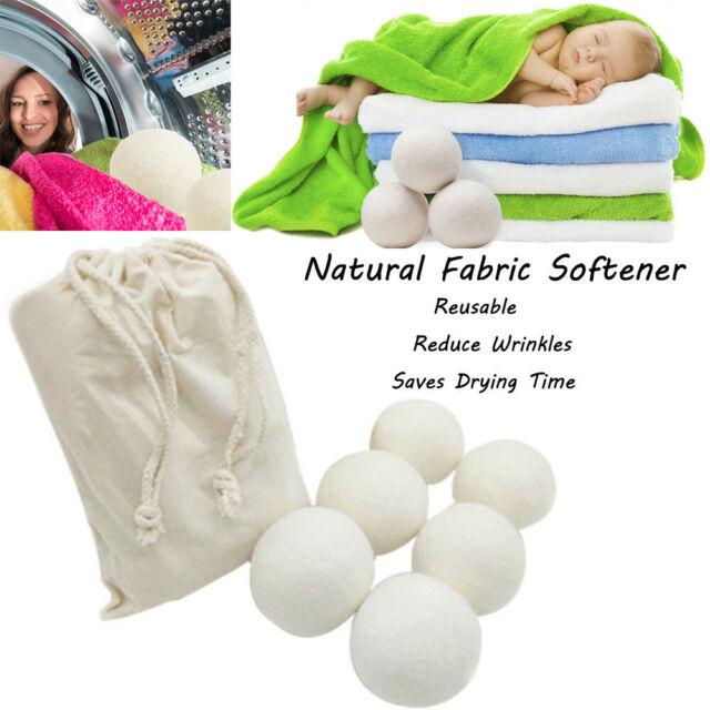 6Pcs Reusable Sheep Wool Dryer Ball Organic Natural Laundry Fabric Softener USA