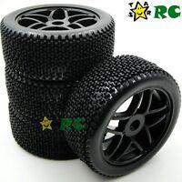 4pcs NEW 1/8 RC Off-Road Buggy Rubber Tires Tyre w/ Foam & Hex 17mm Wheels Rims