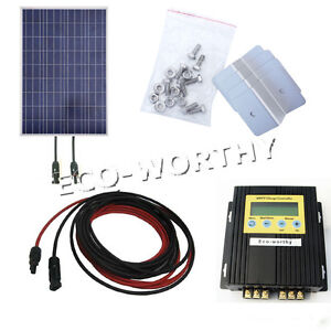 100Watt-PV-Solar-Panel-W-MPPT-Controller-KITS-Boat-Cabin-Home-PV-RV-12V-Charge